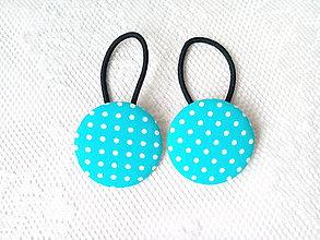 Ozdoby do vlasov - BonBon gumičky – buttonky (turquoise/white dots) - 7550350_
