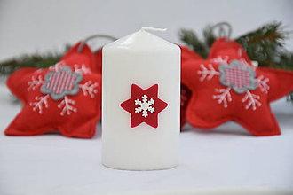 Svietidlá a sviečky - sviečka s hviezdou a snehovou vločkou - 7548654_