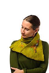 Šály - Dámsky vlnený šál z Merino vlny, ručne plstený, zelený, pestrý - 7549638_