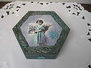 Krabičky - zamyslený anjelik - šperkovnica - 7548799_