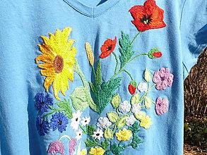 Tričká - Vyšívané tričko modré - 7550388_