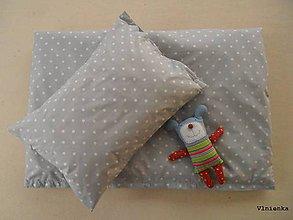 Textil - Detské obliečky 100 x 140 / 40 x 60 cm BODKA sivá - 7547680_