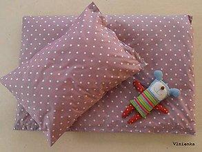 Textil - Detské obliečky 100 x 140 / 40 x 60 cm BODKA ružovo  fialová - 7547714_