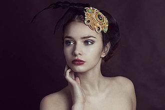 Ozdoby do vlasov - Extravagantná čelenka Gold - 7549650_