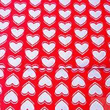 Textil - 100 % bavlna červené srdiečka, šírka 160 cm, cena za 0,5 m - 7549343_