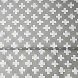 Textil - 100 % bavlna sivé krížiky, šírka 160 cm, cena za 0,5 m - 7549593_