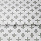 Textil - 100 % bavlna bielo-sivé krížiky, šírka 160, cena za 0,5 m cm - 7549622_