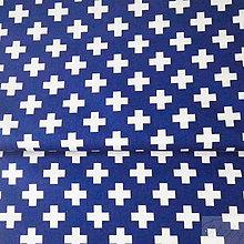 Textil - 100 % bavlna tmavomodré krížiky, šírka 160 cm, cena za 0,5 m - 7549589_
