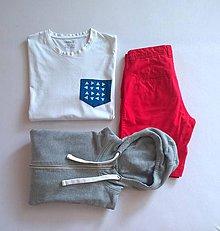 Oblečenie - pánské tričko s modrotiskovou kapsičkou II - 7549172_