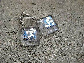 Náušnice - Ľadové živicové kocky so srdiečkami - 7548021_