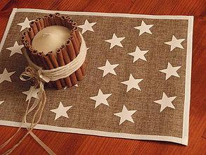 Úžitkový textil - Vianočné jutové prestieranie s hviezdami - 7551259_
