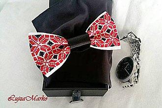 Doplnky - Červeno-čierny motýlik - 7550393_