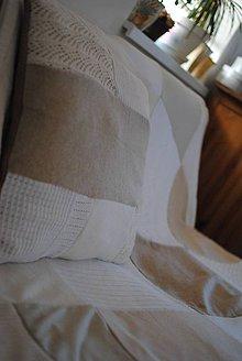 Úžitkový textil - Béžová deka a vankúš - 7549625_