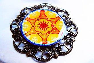 Odznaky/Brošne - Mandala hrejivá veľká - 7556060_