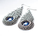 Náušnice - Paví oči - náušnice se Swarovski (Bermuda Blue) - 7554795_