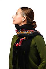 Šály - Dámsky vlnený šál, ručne plstený z jemnej Merino vlny, čierny, pléd, zimný šál, šál z plsti - 7551885_