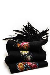 Šály - Dámsky vlnený šál, ručne plstený z jemnej Merino vlny, čierny, pléd, zimný šál, šál z plsti - 7551886_