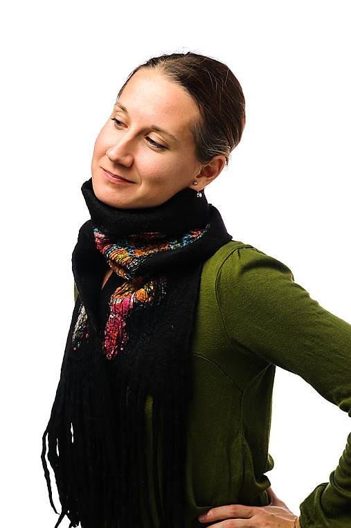 Dámsky vlnený šál, ručne plstený z jemnej Merino vlny, čierny, pléd, zimný šál, šál z plsti