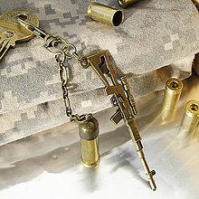 Iné - kľúčenka s nábojnicou a puškou - 7553960_