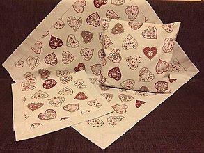Úžitkový textil - Obrusy srdiečka červene ľudove - 7553421_