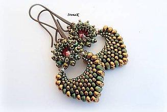 Náušnice - Pod hladinou...mini (bronz-zelená) - 7553718_