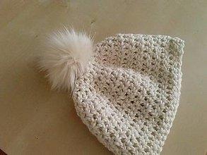Čiapky - Super teplá dámska čiapka s kožušinovým brmbolcom (vlna + alpaka) - 7553108_