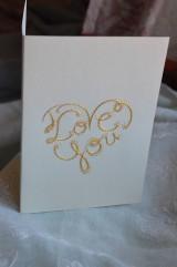 Papiernictvo - Vyšívaná pohľadnica - I love you - 7553060_