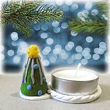 Svietidlá a sviečky - Svietnik vianočný stromček (modro strieborný NA ZÁKAZKU) - 7554663_