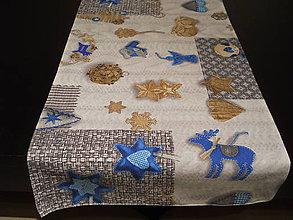 Úžitkový textil - Štóla - Vianočné dekorácie modré I - 7559564_