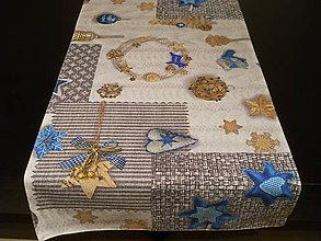 Úžitkový textil - Štóla - Vianočné dekorácie modré II - 7559577_