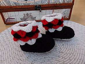 Topánočky - Červeno-bielo-čierne papučky - 7556849_