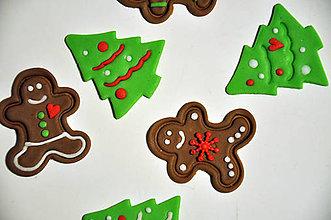 Drobnosti - Perníčky a stromčeky (jedlé ozdoby na vianočné pečenie) 6 ks - 7559651_