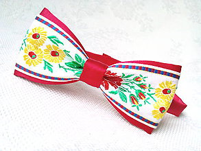Doplnky - Folklórny pánsky motýlik (červený/kvety) - 7557662_
