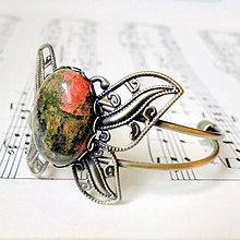 Náramky - Unakite & Butterfly Bracelet / Náramok s unakitom - 7556379_