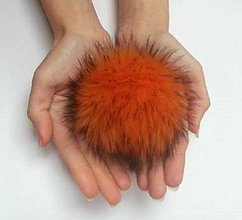 Materiál ručne robený - Kožušinový brmbolec oranžový - 7558380_