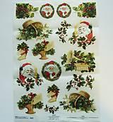 - Ryžový papier na decoupage  A4 - R605 - vianoce, santa,imelo - 7557360_