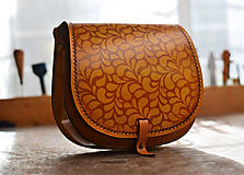 Kabelky - kabelka kožená lovecká /saddle bag ARTEMIS, vzor Folk, tan antique - 7560393_