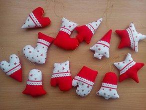 Dekorácie - vianočné ozdoby na stromček v červenom - 7556873_
