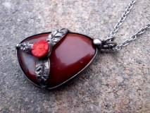 cínový náhrdelník - Achát červený