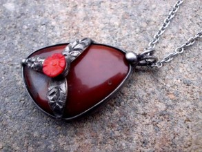 Náhrdelníky - cínový náhrdelník - Achát červený - 7556709_