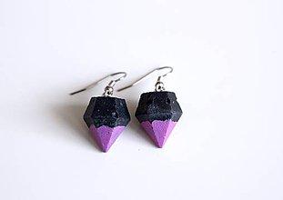 Náušnice - Betónové diamanty black/pink - 7557963_