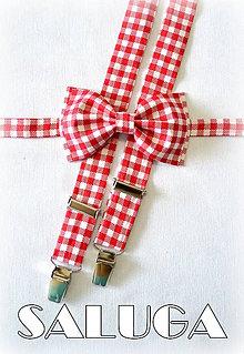 Doplnky - Károvaný, kockovaný pánsky motýlik + traky - červený-biely - 7556783_