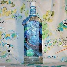 Nádoby - Fľaša na pálenku Slivka s ornamentami a visačkou - 7556172_