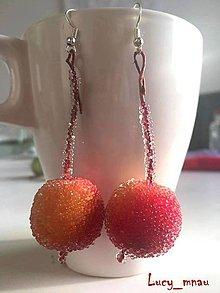 Náušnice - Náušničky cukrové jabĺčka-červené :) - 7559408_