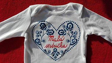 Detské oblečenie - Maľované originálne ľudovo ladené body pre malú sestričku - 7559873_