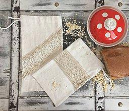 Úžitkový textil - Súprava dvoch ľanových vrecúšok s háčkovanou krajkou - 7557110_