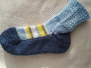 Obuv - ponožky modro-modré s pásikmi - 7563918_