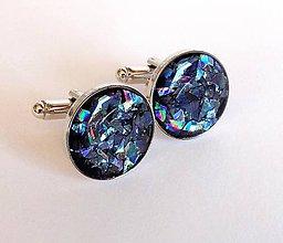 Šperky - Manžetové  gombíky čierne s duhou - 7560705_