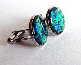 Šperky - Manžetové  gombíky zelené s duhou s chirurgické oceli - 7560707_