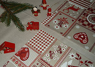 Úžitkový textil - Obrus béžový + vianočné prestieranie - 7563379_